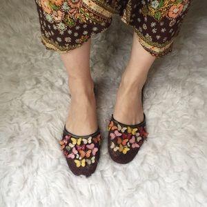 Max Studio Butterflies Leather Slides Sandals.